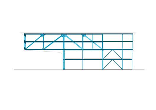 North elevation steel construction 01