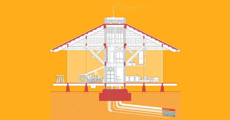 Sistema prefabricado de madera permite construir casas flexibles alrededor de un núcleo funcional, Cortesía de Space Popular