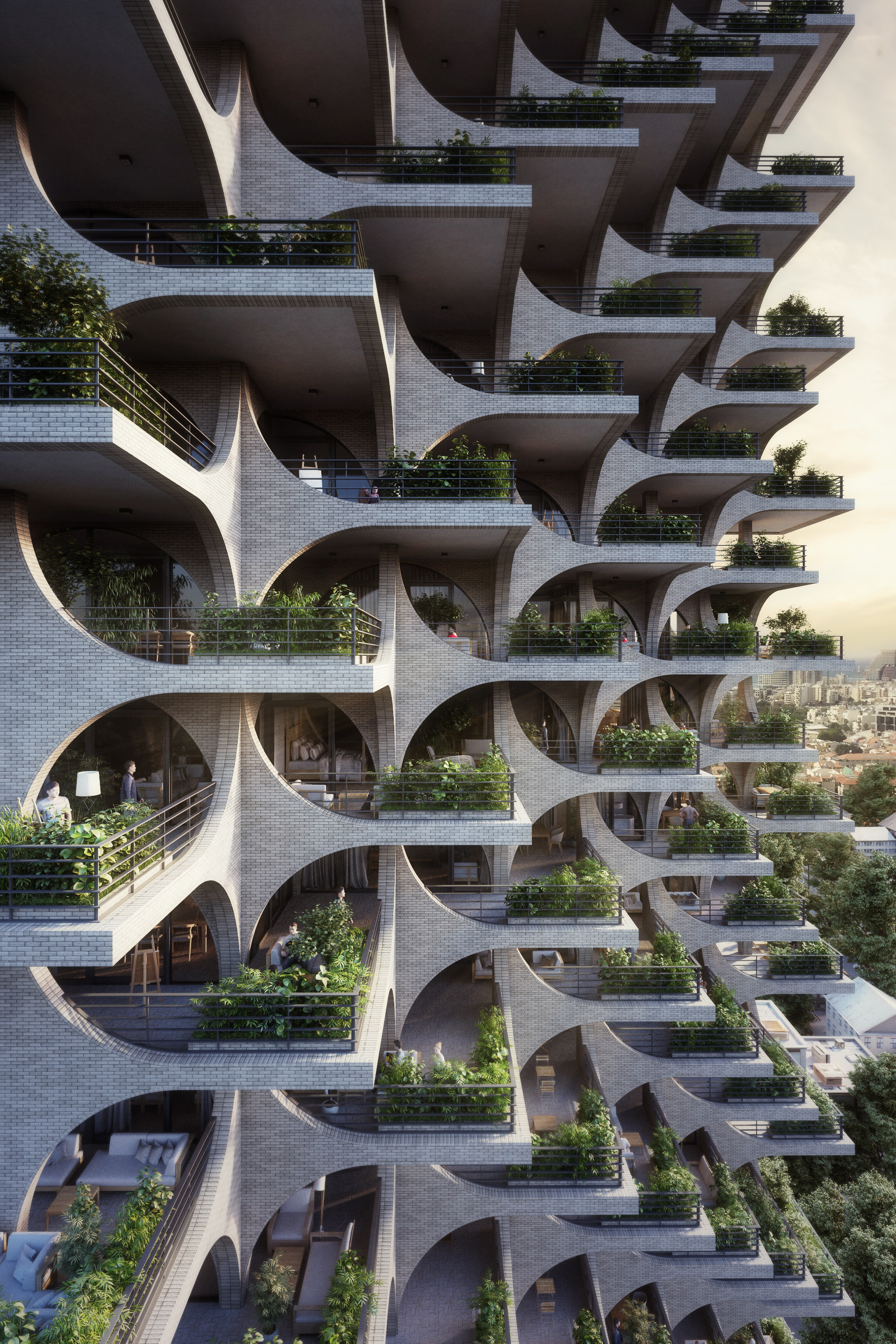Gallery of Cascading Brick Arches Feature in Penda's Residential Tower in Tel Aviv - 6