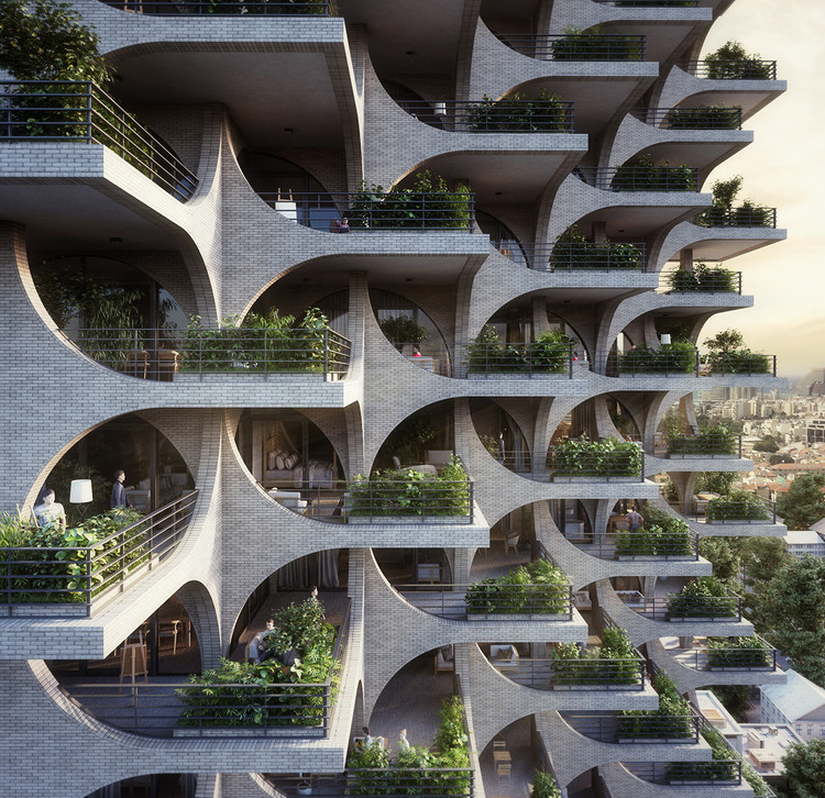 Cascading Brick Arches Feature in Penda's Residential Tower in Tel Aviv, Courtesy of Penda Austria
