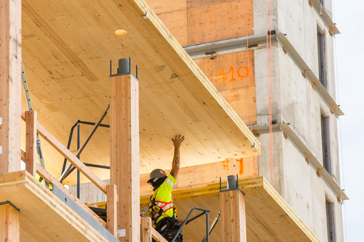 Brock Commons Tallwood House | Photo: KKLaw; Prefabricated panels aid in a project's efficiency.