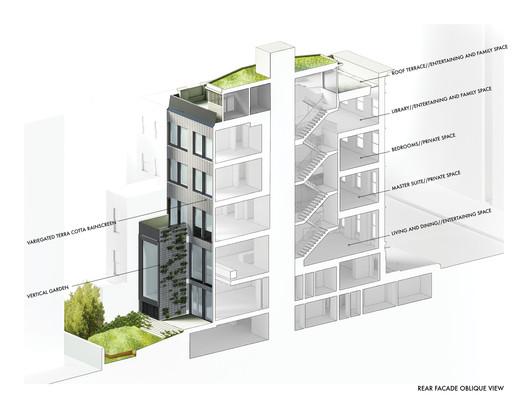Rear facade section