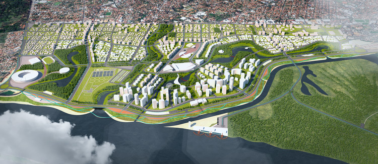 Equipe brasileira recebe Menção Honrosa no Concurso Internacional de Desenho Urbano - Bañado Norte, em Assunção, Cortesia de TESE Tecnologia Arquitetura e Cultura LTDA + Oficina Urbana de Arquitetura (OUA)