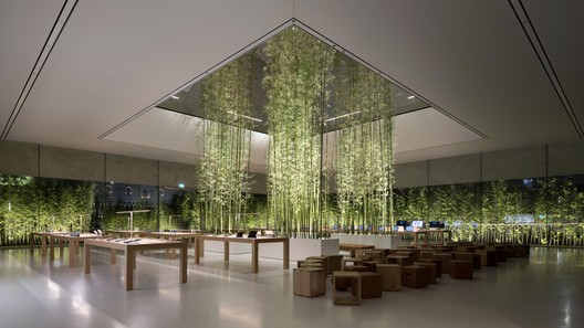 Apple Store, Macau, Sands Cotai - Interior of retail floor with bamboo planters cascading up the lantern. Image Courtesy of Nigel Young, Foster + Partners
