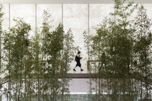 Apple Store, Sands Cotai Central, Macau - interior with bamboo planters rising up through the cube lantern. Image Courtesy of Nigel Young, Foster + Partners