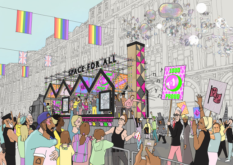 "Hawkins\Brown's London Pride Float Celebrates the ""Dual Identities"" of LGBT+ Architects, Courtesy of Hawkins\Brown"