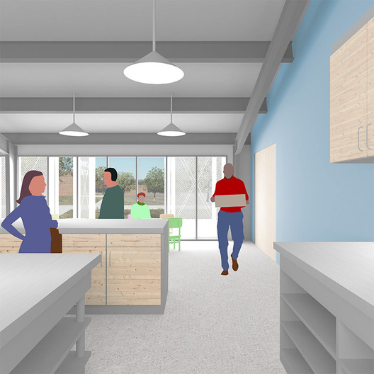 Centered on healthy, local food, the Community Kitchen building will be the heart of the campus. This building will also host administrative offices. Image Courtesy of Group Project