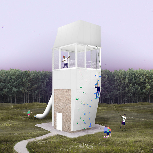 The new Adventure Tower's four sides are divided between a rappelling wall, an entrance wall, and two climbing walls. Image Courtesy of Group Project