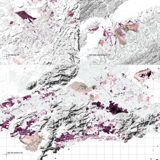 Divisões Sólidas. Fronteiras na cidade. Quão livre é a transposição de limites entre tecidos urbanos distintos?. Image Cortesia de Pavilhão do Brasil na Bienal de Veneza 2018