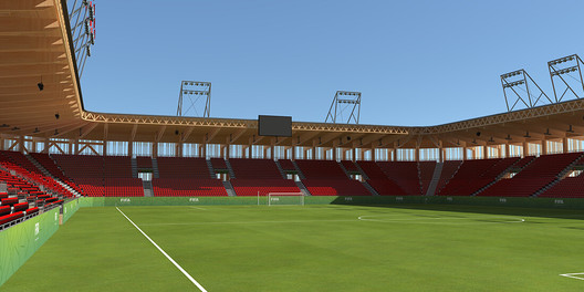 A rendering of a stadium constructed with Bear Stadiums and Rubner Holzbau's modular wood systems. Image Courtesy of Rubner Holzbau