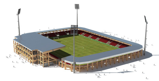 Bear Stadiums and Rubner Holzbau's modular wood systems can be scaled to accommodate a range of capacities; this rendering depicts a 10,000-seat structure. Image Courtesy of Rubner Holzbau