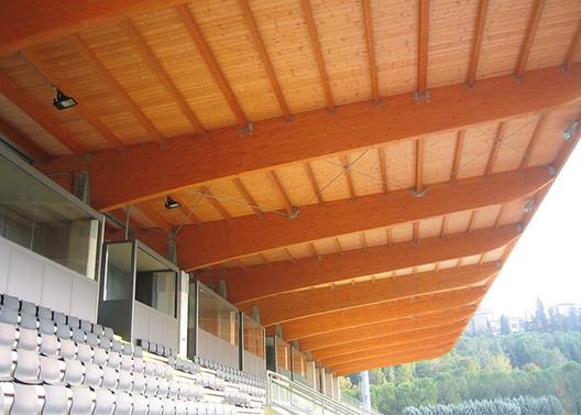 The San Marino Stadium multipurpose stadium in Serravalle, San Marino, Italy. Image Courtesy of Rubner Holzbau