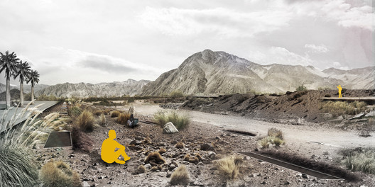 Cuarto + Quinto Año—Primer Lugar: Parque Aluvional Quebrada Paipote / Raúl Brito. Image Cortesía de Arquitectura Caliente