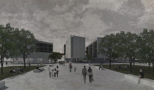 Distinciones—Mención Zona Sur: Residencia estudiantil de enlace barrial / Matías Rivas Labra. Image Cortesía de Arquitectura Caliente