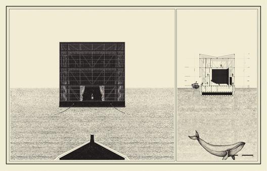 Título—Ganador: Teatro Navegante para el archipiélago de Chiloé / Esteban Ramírez Jara. Image Cortesía de Arquitectura Caliente