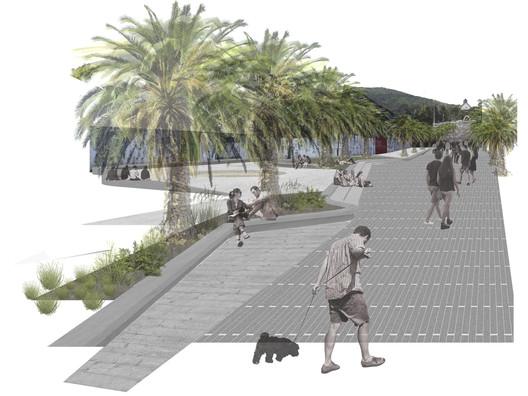 Segundo Año—Primer Lugar: Corredor Urbano en Renca / Aníbal Retamal. Image Cortesía de Arquitectura Caliente