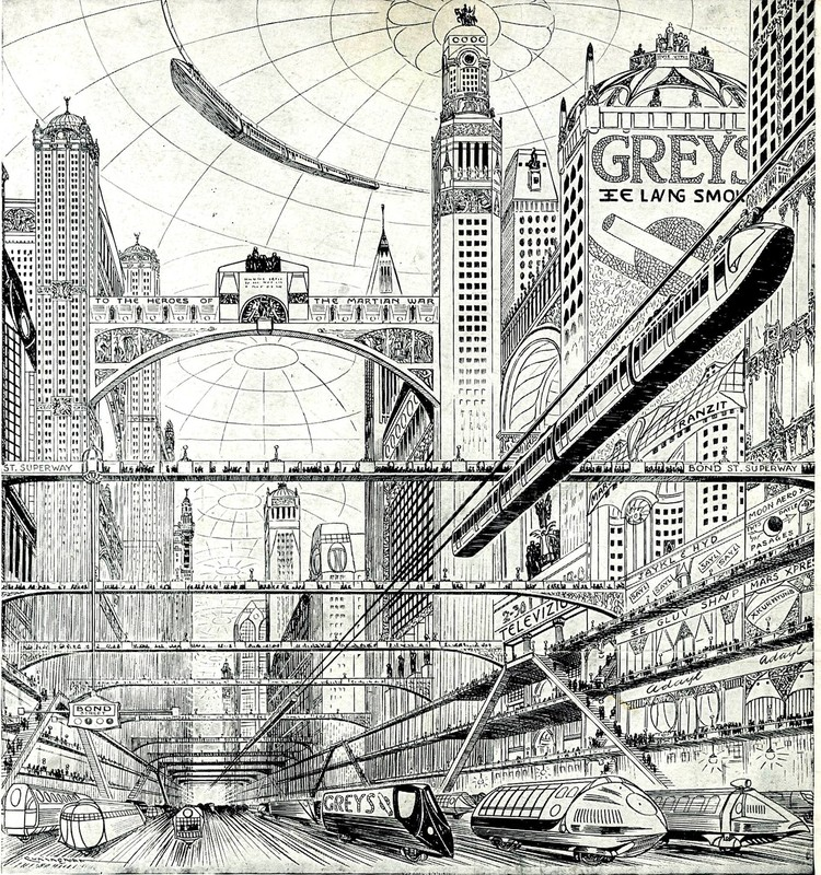 Norman Foster Foundation Urban Mobility Workshop, London in Year 2500 (Grey's Cigarette advertisement, 1920s)