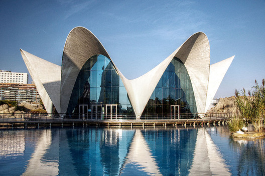 Thin-Shell Structure. Image © Flickr user Felipe Gabaldón <a href='https://commons.wikimedia.org/wiki/File:L%27Oceanografic_(Valencia,_Spain)_01.jpg'>via Wikimedia</a> licensed under <a href='https://creativecommons.org/licenses/by/2.0/deed.en'>CC BY 2.0</a>