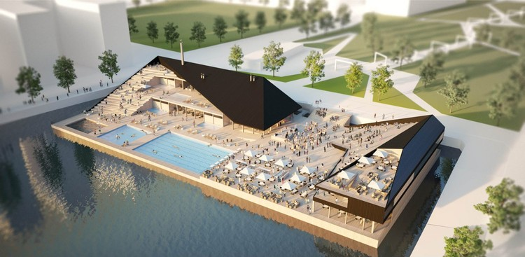 OOPEAA Design Modular Floating Pool for Urban Waterfronts, Visualization. Image Courtesy of OOPEAA