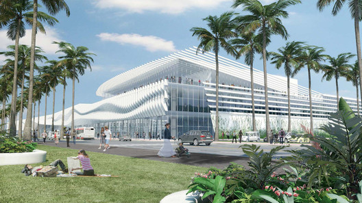 <a href='https://www.archdaily.com/561131/fentress-releases-final-design-for-miami-beach-convention-center'>Miami Beach Convention Center by Fentress Architects</a>. Image Courtesy of Fentress Architects