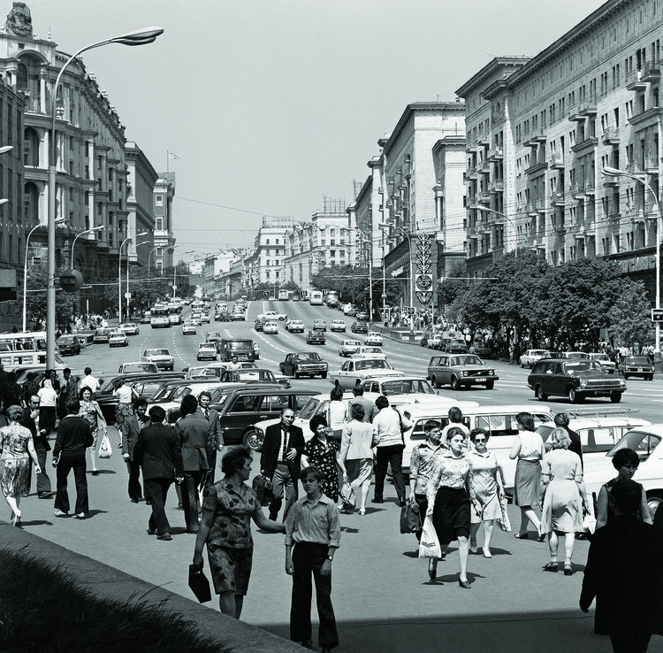 100 Years of Mass Housing in Russia, Gorky street (Tverskaya st.), Moscow, 1978. Image Courtesy of Vasily Egorov, TASS
