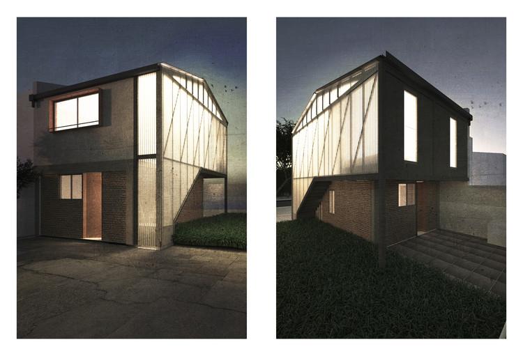 11 propuestas universitarias exploran una arquitectura de clase media en Chile, Casa Huechuraba. Image Cortesía de Encargos Comunes