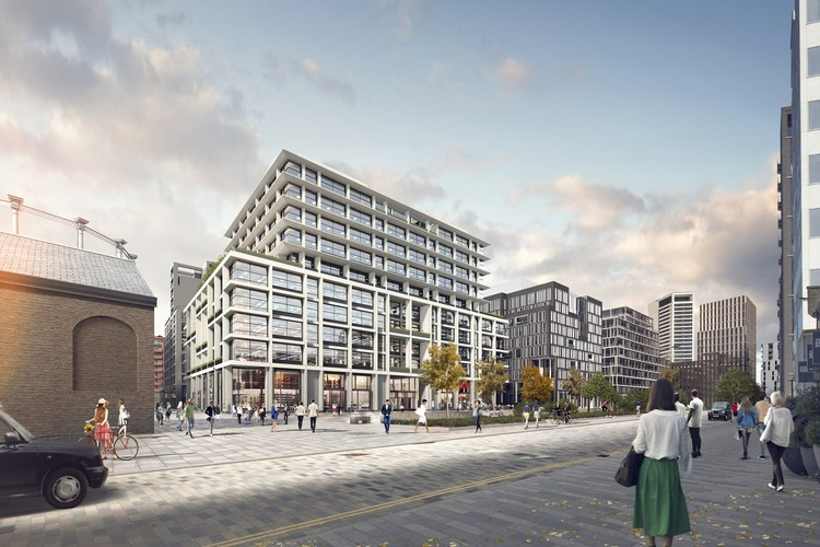"Facebook Set to Occupy London Offices in King's Cross by AHMM and Bennetts Associates, ""P2"" is currently undergoing planning persmission. Image © Bennetts Associates via Kings' Cross"
