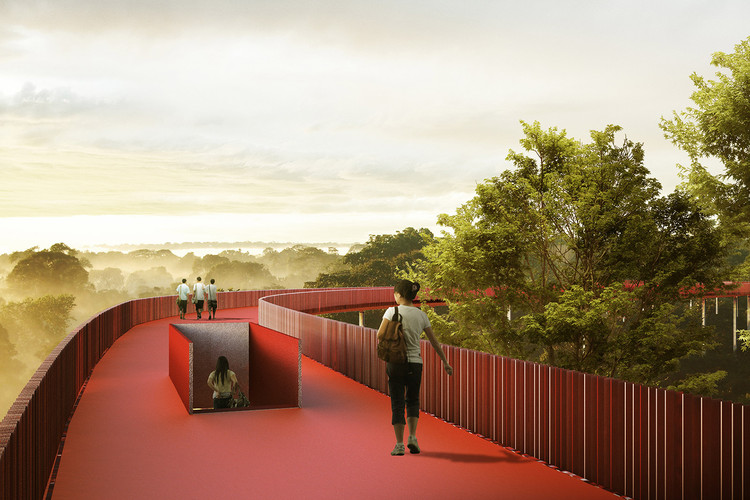 "LOLA, L+CC, and Taller Architects Design ""Romantic"" Forest Trail for Forgotten Sports in Shenzhen, Red path between the tree foliage. Image Courtesy of LOLA, TALLER, and L+CC"