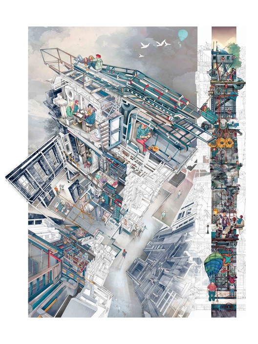 World Architecture Festival abre convocatoria para el Architecture Drawing Prize 2018, Memento Mori: A Peckham Hospice Care Home by architecture student Jerome Xin Hao Ng (UK), winner of the 2017 Architecture Drawing Prize.