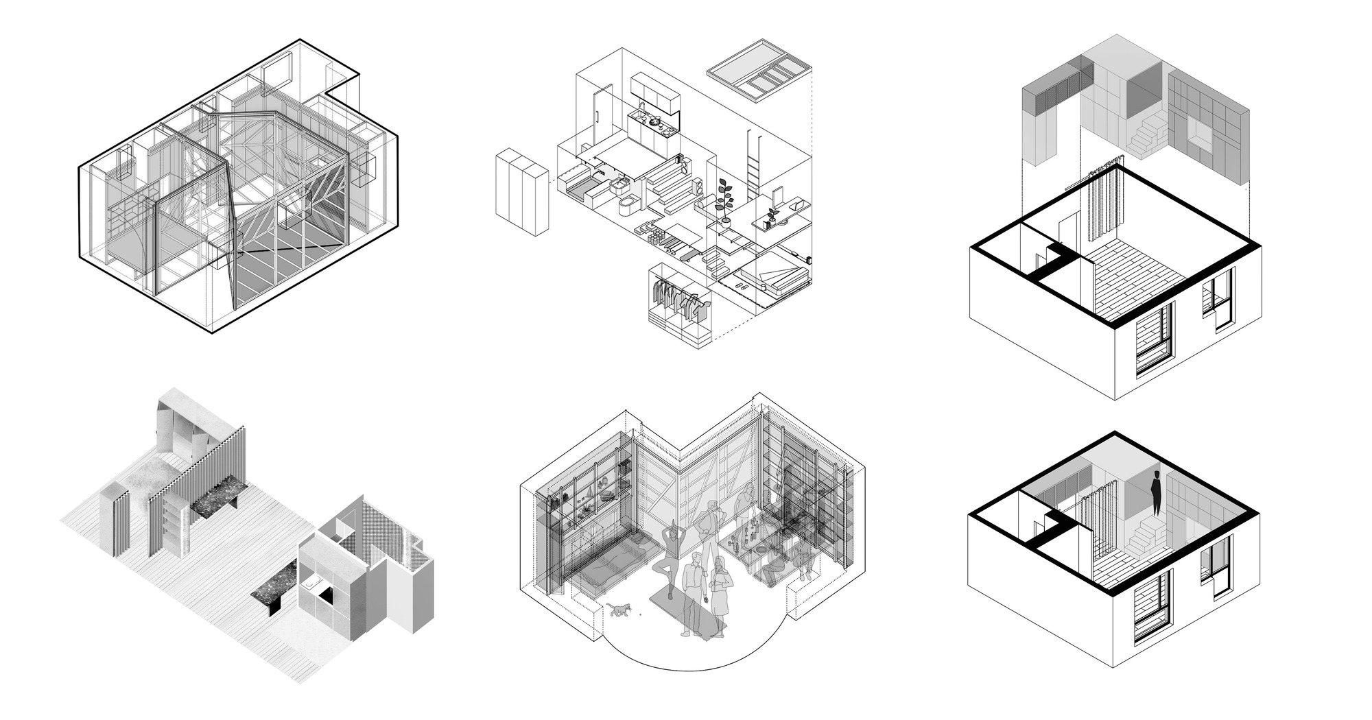 10 Tiny Apartments Under 38 Square Meters and Their Axonometric Drawings