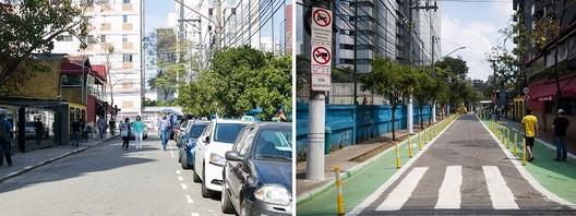 Antes y después de la calle Joel Carlos Borges. © Daniel Hunter y Pedro Mascaro/WRI Brasil