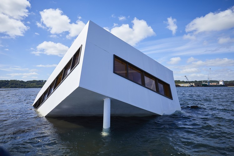 Full-Size Replica of Le Corbusier's Villa Savoye Sunk in Danish Fjord, Courtesy of Asmund Havsteen-Mikkelsen