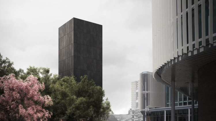 JAA Reimagines Grenfell as a Black Concrete Memorial Tower, Grenfell Tower: In Memoriam . Image via Darc Studio