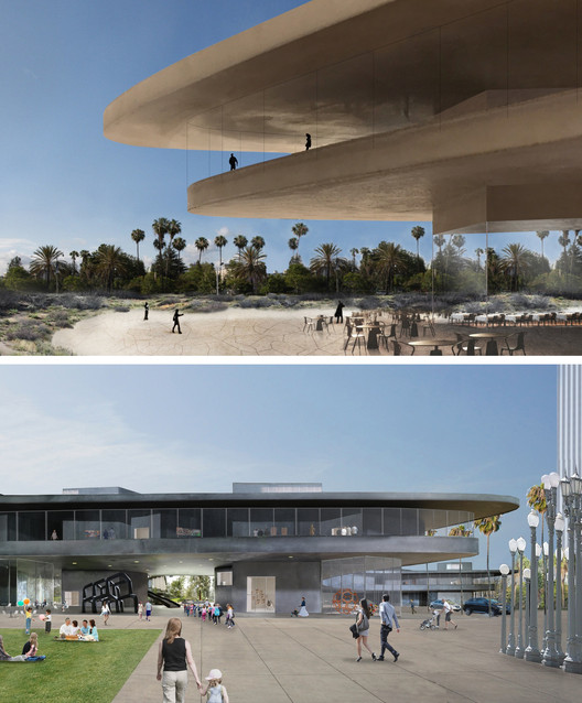 Top Image ©Atelier Peter Zumthor; Bottom Image courtesy of LACMA. ImageAtelier Peter Zumthor's proposal for the Los Angeles Contemporary Art Museum has undergone dramatic design changes, the most superficial being a color change from black (referencing the La Brea Tar Pits) to a sandy yellow.