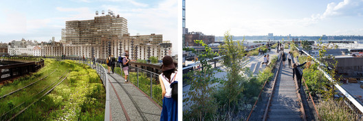 Left Image Courtesy City of New York and Friends of the High Line; Right Image © Iwan Baan. ImageThe Highline; Rendered view and reality.