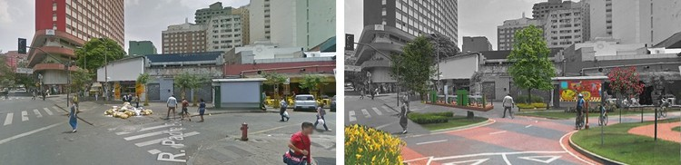 Vazios no cruzamento na Rua dos Goitacazes torna o local hostil aos pedestres. Projeto prevê novos canteiros e marcações na via.. Image Cortesia de TheCityFix Brasil