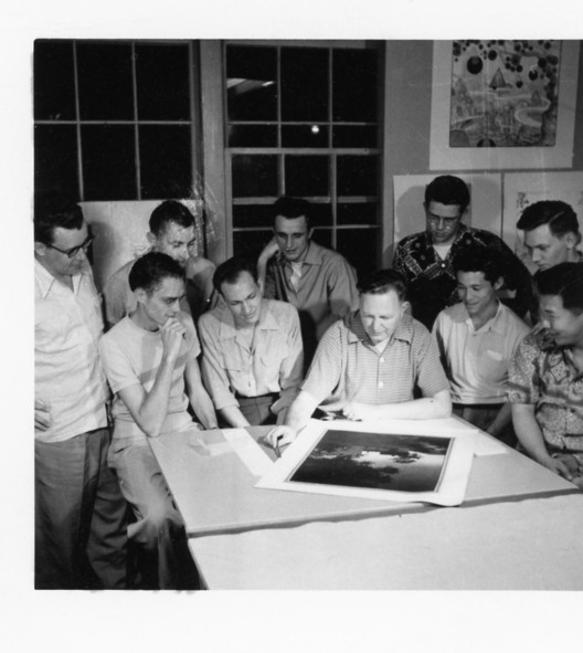 """Opening of """"Renegades: Bruce Goff and the American School of Architecture at Bizzell"""", Bruce Goff confers with students in the early 1950s in Building 604 on the North Base"""