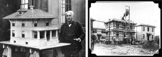Thomas Alva Edison and a model of concrete house (left). Concrete houses cast around 1919 (right). Photo: National Park Service (public domain)