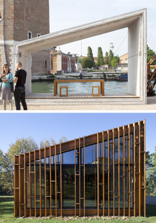 Gomos System, presented at the 15th Venice Architecture 	Biennale by SUMMARY studio (left). Gomos #1 project, from SUMMARY studio (right). Photos © Tiago Casanova