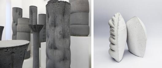 Concrete columns at the Edinburgh School of Architecture and Landscape Architecture, Photo © Pablo Jimenez-Moreno (left). Concrete sculptures 'Reach' by Pablo Jimenez-Moreno and Eleni-Ira Panaurgia, Photo © Brenda Rosete (right).