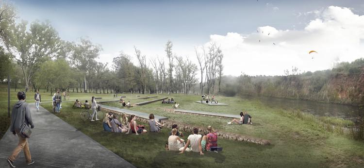 Primer Premio en el Concurso Parque Balneario y Renovación de Plaza San Martín de Río Tercero, Córdoba, Cortesía de Equipo del Proyecto