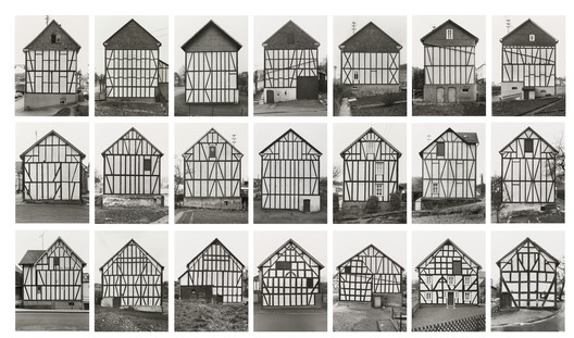 "Bernd Becher, Hilla Becher. Framework Houses, 1959-73. © 2018 Hilla Becher. Credits: MoMA; Gift from Hilla Becher. Under ""Fair Use"""