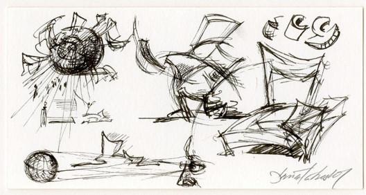 Dibujo conceptual del Imperial War Museum North / Daniel Libeskind. Imagen cortesía de The Chicago Athenaeum Museum of Architecture and Design