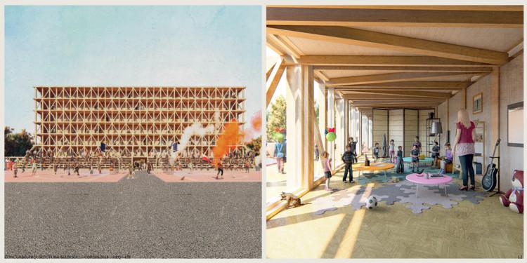 Colectivo habitacional: La escuela y la cancha. Image Cortesía de Madera21 / Semana de la Madera 2018