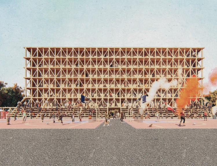 Conoce los proyectos ganadores del concurso de arquitectura de la Semana de la Madera 2018, Colectivo habitacional: La escuela y la cancha. Image Cortesía de Madera21 / Semana de la Madera 2018
