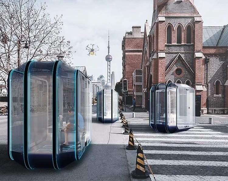 """Módulos autônomos e móveis propõem um outro modo de habitar a cidade, """"the org"""". Cortesia de Florian Marquet"""
