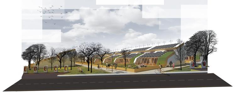 Architecture for Humans propõe comunidade neutra em emissão de carbono para abordar a mudança climática, Cortesia de Architecture for Humans
