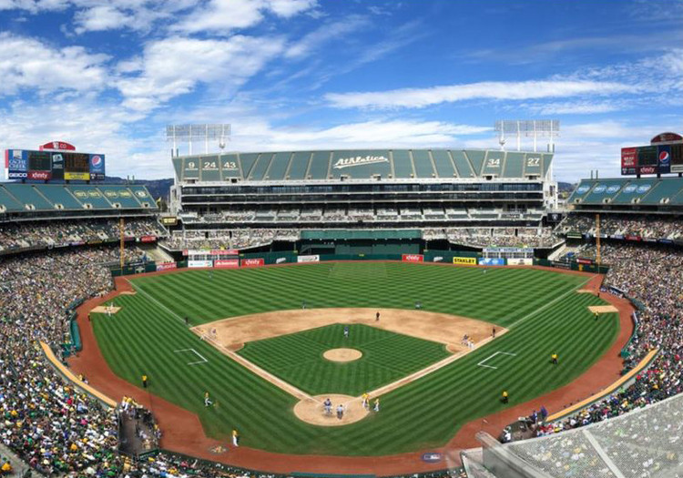 BIG, Gensler, and James Corner Field Operations to Design Oakland Athletics Baseball Stadium, The existing Oakland-Alameda County Coliseum. Image via BIG