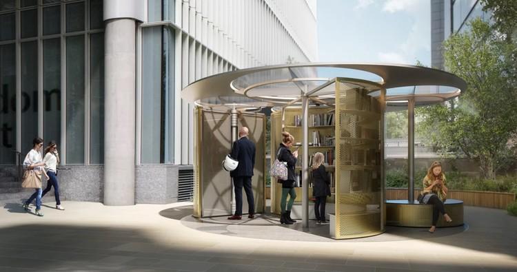 Snøhetta projeta biblioteca móvel para o London Design Festival de 2018, Pavilhão do livro. Imagem Cortesia de Snøhetta