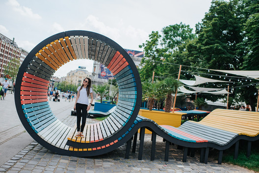 Hello Wood's POP-UP Park Adds a Splash of Color to an Underused Square in Budapest